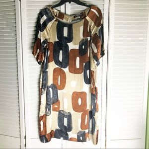 ELLEN TRACY Printed Silk Shift Dress 10